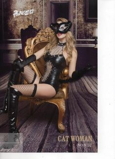 LACSXL20 - Catwoman Body Stocking and Mask   Fancy Dress   Phaze Clothing