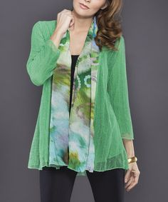 Green Sheer-Knit Abstract Open Cardigan