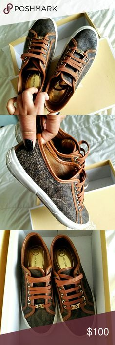 Michael Kors Snesker's Brand:Michael Kors  Size :7 Condition: Wear this for like 4 times  Color:Brown Michael Kors Shoes Sneakers