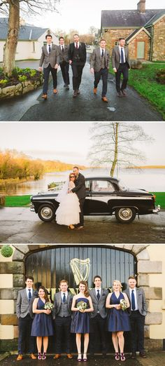 A New Year's Eve Winter Wedding With A Vintage Tulle Dress And Golden Gucci Shoes On Lusty Beg Island In Ireland With Blue Bridesmaid BHLDN Dresses By Sharon Kee Photography._0007