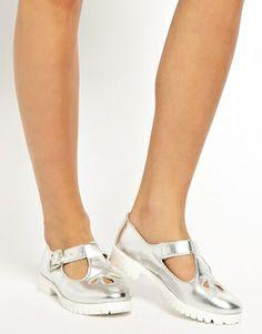 silver school shoes