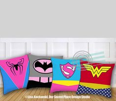 Girls Superhero Pillow Superhero Throw Pillow Girls Superhero Decor Superhero…