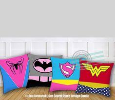 Girls Superhero Pillow Superhero Throw Pillow Girls Superhero Decor Superhero…
