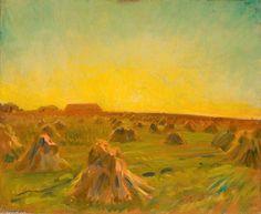 Coucher de soleil sur un champ de la moisson de Sir Alfred James Munnings (1878-1959, United Kingdom)