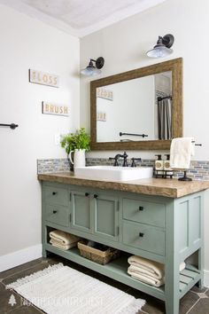 Summer Bathroom Decor- Add rustic and industrial charm to your space with thes. - Summer Bathroom Decor- Add rustic and industrial charm to your space with these simple summer bathroom decor ideas that are sure to inspire! Diy Bathroom, Bathroom Layout, Bathroom Vanities, Bathroom Cabinets, Brown Bathroom, Mosaic Bathroom, Bathroom Renos, Seashell Bathroom, Restroom Cabinets