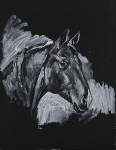 """Don stallion Gabriele"" Materials: ink, acryl. cardboard"