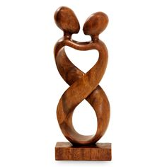 Romantic Wood Sculpture - Heart to Heart | NOVICA