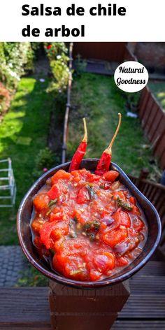 Easy recipe for a Mexican salsa chile de arbol! #naturalgoodness #salsadechiledearbol #veganrecipes #mexicanvegan #mexicanrecipes Jam Recipes, Sauce Recipes, Beef Recipes, Best Vegetarian Recipes, Delicious Vegan Recipes, Healthy Recipes, Healthy Appetizers, Appetizer Recipes, Indian Food Recipes