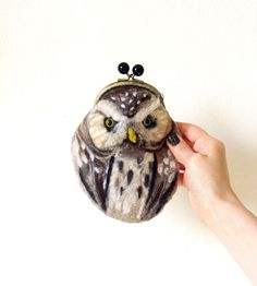 OWL Wet Felted  coin purse Ready to Ship with bag frame metal closure Handmade  gift for her under 50 USD