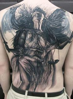 Lady Justice Tattoo Designs for Men - Impartial Scale Ink Ideas - Lady Justice Tattoo Designs for Men - Impartial Scale Ink Ideas - - Custom Temporary Tattoos Full Back Tattoos, Great Tattoos, Beautiful Tattoos, Body Art Tattoos, Tattoos For Guys, Tatoos, Picture Tattoos, Tattoo Photos, Tattoo Images