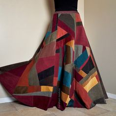 Long Corduroy Patchwork Skirt