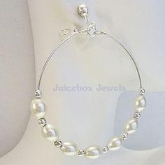 CLIP ON 2.5 inch Silver Oval Faux Pearl Hoop Handmade Non-Pierced Earrings V84 #Handmade #Hoop #cliponearrings