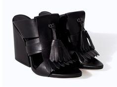 Zara Leather Wedge with Fringe