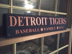 Custom Unique Pallet Wood Handmade DETROIT TIGERS Baseball*Family*Fun Sign Repurposed Pallets Custom Colors