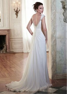 Glamorous Chiffon Square Neckline Natural Waistline Sheath Wedding Dress