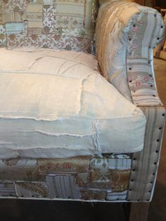Linen and Silk Patchwork at Carol Hicks Bolton. Diy Home Furniture, Upcycled Furniture, Furniture Makeover, Cool Furniture, Painted Furniture, Furniture Ideas, Reupholster Furniture, Furniture Upholstery, Patchwork Chair