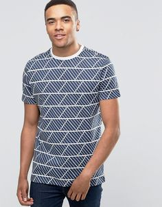New Look T-Shirt In Navy With Geo Print