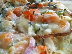 Seafood Pizza...this sounds DIVINE...shrimp & crab pizza with a white beschamel sauce!