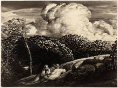 Samuel Palmer. 'The Bright Cloud'. Watercolour and ink on paper. 1833 - 34.