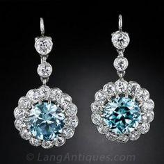 Antique Style Blue Zircon and Diamond Earrings