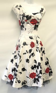 New Vtg 1940's 50's Retro White Floral Red Roses Rockabilly Party Prom Dress | eBay