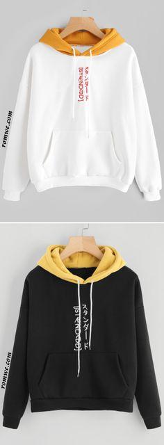 Contrast Hooded Embroidered Sweatshirt