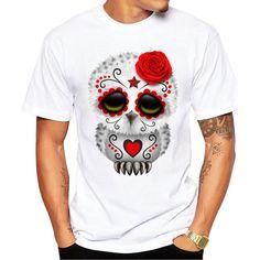 Day of the Dead Día de Muertos Sugar Skull Owl Men's Short Sleeve Casual White T-Shirt