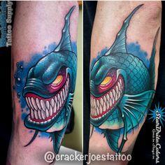 Evil Fish Tattoo by CT Tattoo Artist Cracker Joe Swider Tattoo Portfolio, Artist Portfolio, Animal Tattoos, Fish Tattoos, Tattoo Skin, Tattoo Stencils, New Artists, Sleeve Tattoos, Tattoo Artists