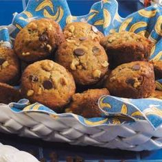 """Chocolate Banana Muffins Recipe -""""I bake something almost everyday—either in the morning before everyone's awake or in the evening,"""" comments Stephanie Kienzle from North Miami Beach, Florida. """"I whip up these tender muffins in no time and serve them with jam for breakfast or ice cream and chocolate syrup for dessert."""""""