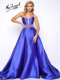 Find inspiration and ideas for your next pageant or appearance gown or prom dress at ThePageantPlanet.com. Pictured here: McDuggal Gown SHEATH Sweetheart Natural Mikado long Blue,Red