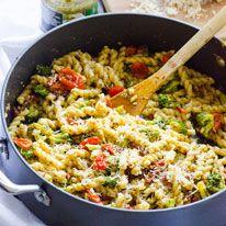 Pasta with pesto, tomatoes, and broccoli