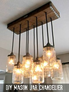 Mason jar chandelier - Best DIY Mason Jar Crafts. Create these crafts for decorative additions to your home, gifts, or for organizing! #crafts #DIY #idea