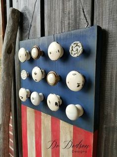 Try adding this creative touch to your Wooden American Flag decor. Use leftover knobs from old furniture to represent the stars on the flag. Industrial Bedroom Furniture, Repurposed Furniture, Painted Furniture, Rustic Furniture, Classic Furniture, Antique Furniture, Furniture Logo, Farmhouse Furniture, Furniture Ideas