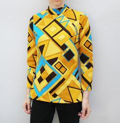 60s vintage women's polyester tunic top, long sleeved, Pykette's brand, mod Op-Art pattern, mustard, brown, yellow, blue, zip back - Medium
