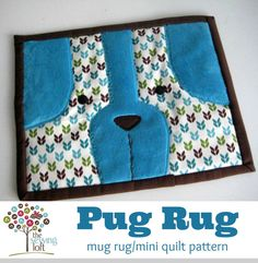 Pug Rug Mini Quilt Mug Rug Pattern Instant by TheSewingLoft, $3.00