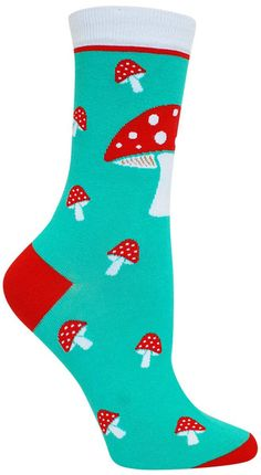 Tasty? Turquoise crew length socks with red-capped mushrooms with little white dots. Fits women's shoe size 5-10.