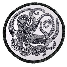 BohoOcto Round Towel What y'all know about BohoOcto? The hand drawn black and white Octopus is alive and he's your friend! Take him everywhere. Lines for days and legs at play :)