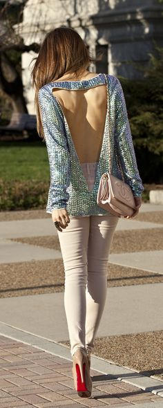 Asos sequin top, Jbrand jeans, pink Chanel bag and Louboutin heels. Feeling spring! http://findanswerhere.com/womensfashion