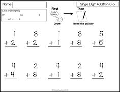single digit addition using touch math. Touch points are a great strategy for students in special education or with autism. Free Multiplication Worksheets, Lkg Worksheets, Math Quizzes, 4th Grade Math Worksheets, Printable Math Worksheets, Teacher Worksheets, Free Printable, Preschool Worksheets, Touch Point Math