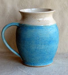 READY TO SHIP Handmade pottery ceramic clay Wheel thrown large water pitcher,  turquiose and white