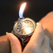 New Novelty Cool Watch Style Refillable Butane Gas Cigarette Cigar Lighter Black