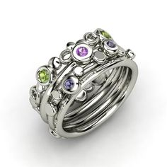 Round Amethyst Sterling Silver Ring with Iolite