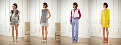 Rachel Roy.  Shorts and dresses worn with casual flats, color blocking, monochromatic. The coat on the far right looks like is made of yellow guipure, so maybe we´ll still be looking more of this material next year.