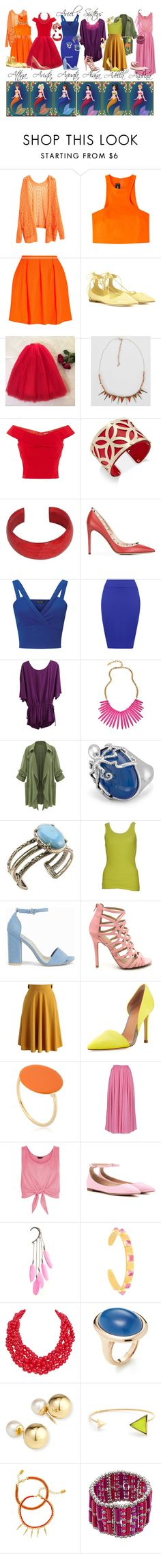 """""""Ariel's Sisters Inspired Outfits"""" by pie-epic ❤ liked on Polyvore featuring Disney, Dsquared2, Opening Ceremony, Jimmy Choo, Daytrip, Coast, Charter Club, NOVICA, Valentino and Miss Selfridge"""