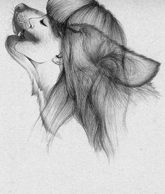 Wolf/girl drawing