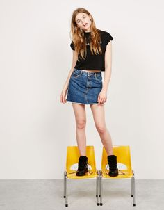 Vintage A-line denim skirt - null - Bershka Ireland