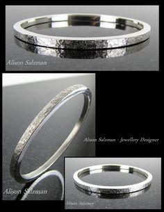 Sterling silver square wire oval bangle featuring 'raw silk' texture. Bangles & bracelets - Alison Salzman - Jewellery Designer