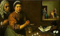 Kitchen Scene With Christ In The House Of Martha And Mary 1618  National Gallery in London  Diego Velazquez