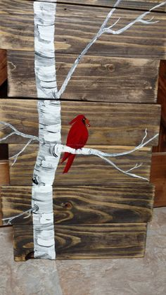 Cardinal on Birch Tree, Hand painted pallet art. Painted Pallet Art, Pallet Painting, Hand Painted, Wooden Fences, Winter Porch, Paint Designs, Painting Techniques, Wood Pallets, Birch
