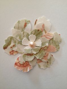 Peach & Green Shabby Chic Sizzix Tim Holtz Tattered Floral Flower Hair Clips/Broach